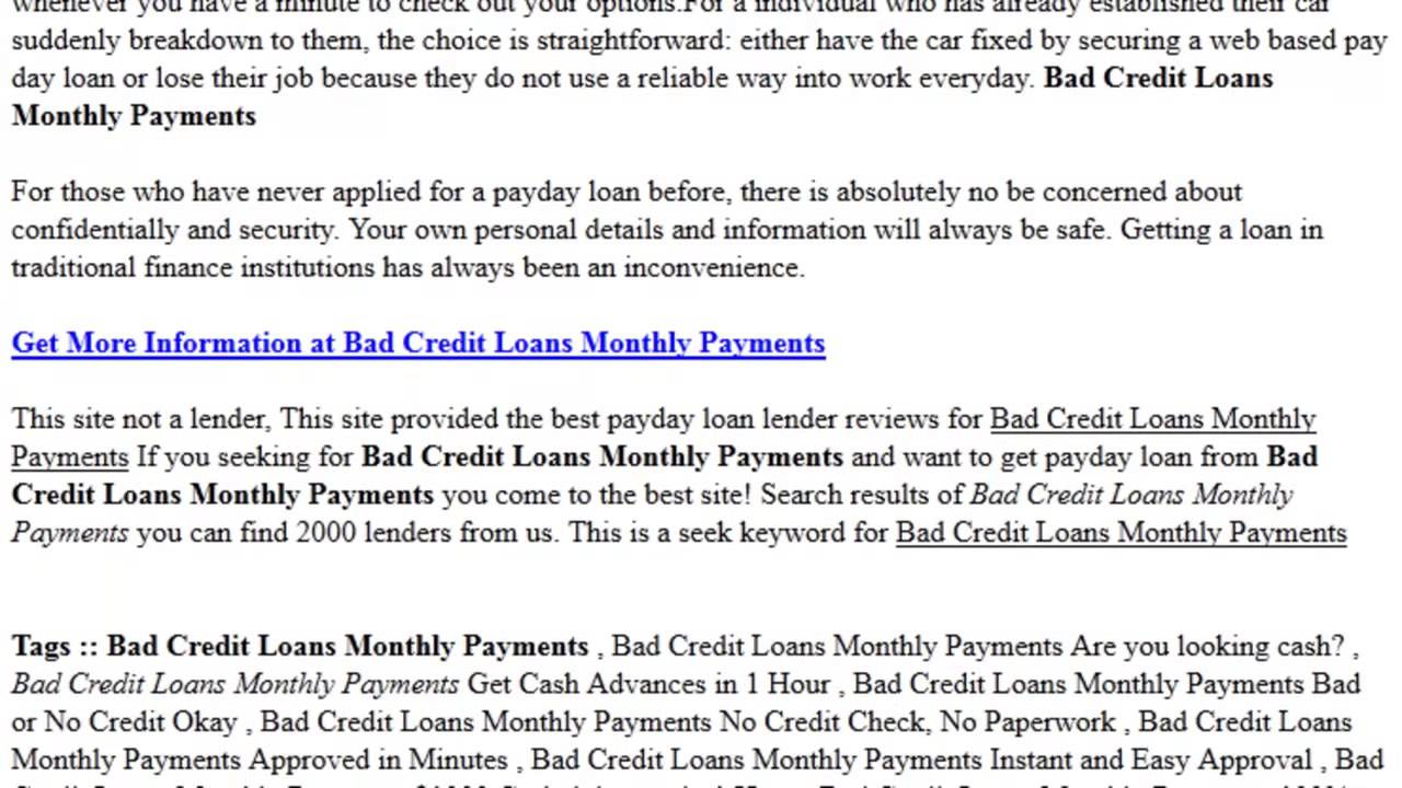 Loans For Bad Credit With Monthly Payments >> Bad Credit Loans Monthly Payments Payday Loan Up To 1000 Apply For