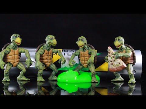 Neca Toys TMNT (1990 Movie) Baby Turtles 1/4 Scale Figure Set and Mutagin canister review