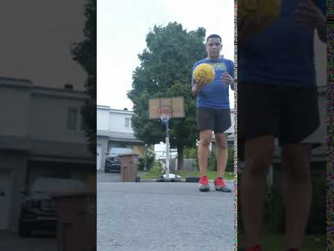 Backwards soccer ball kick in hoop with the heel