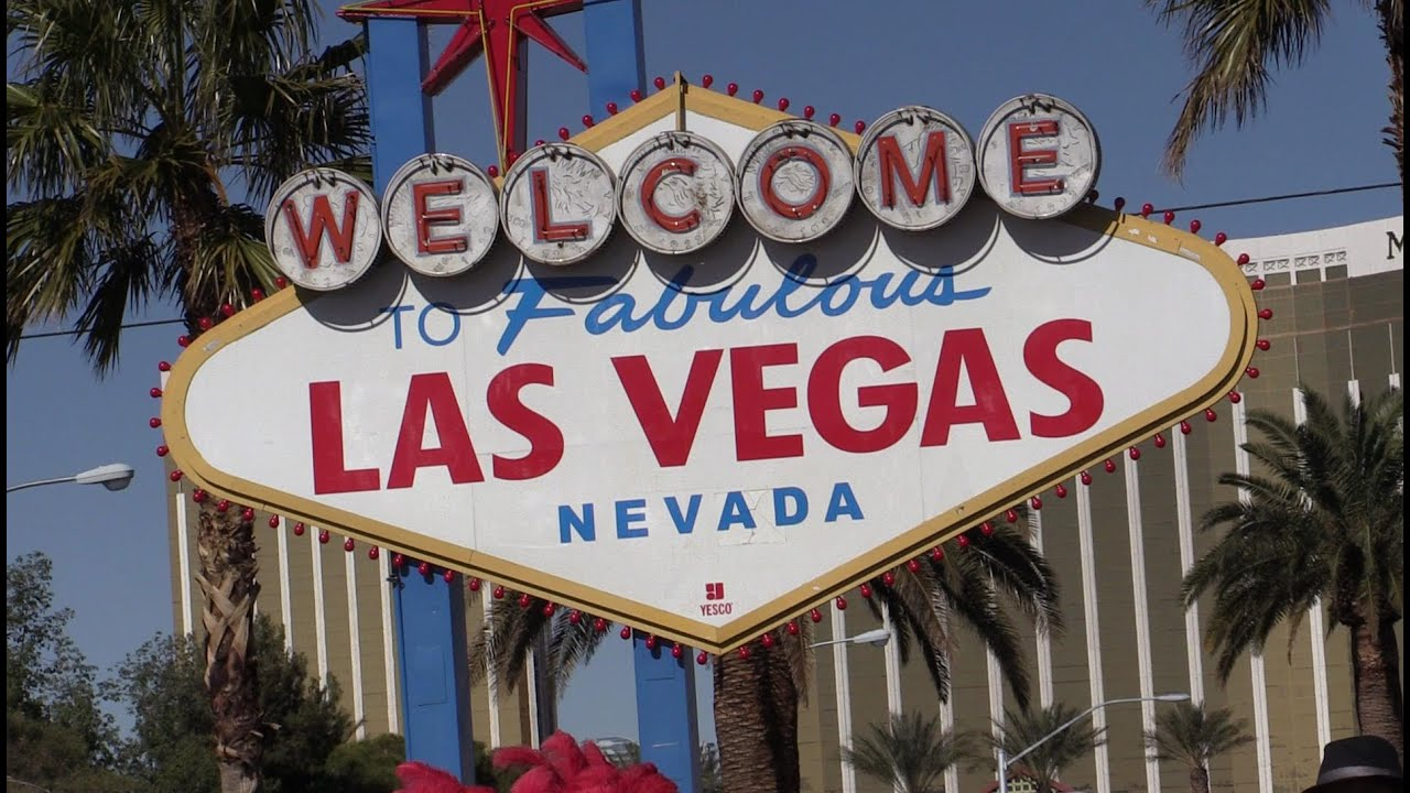 Stock footage welcome to fabulous las vegas sign with flashing lights - Welcome To Fabulous Las Vegas Sign