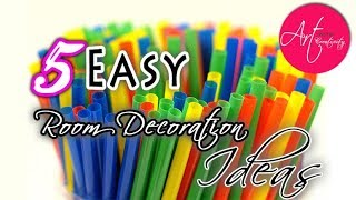 5 Easy DIY room decoration ideas with straw   Best out of waste   5 min Craft   Art with Creativity