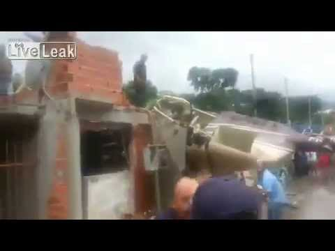 ▶ Helicopter Crashes Into Village In Brazil   Villagers Try to Rescue Trapped Pilot Killed in Accide