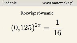 Równanie wykładnicze - przykład 3