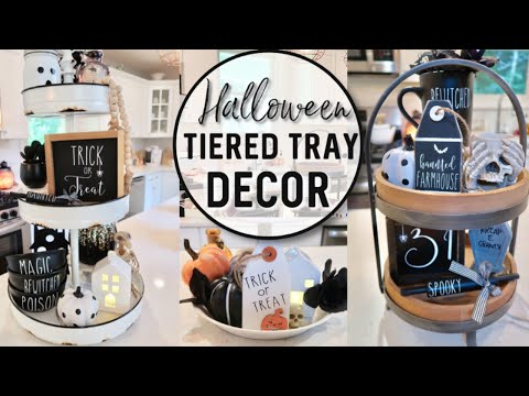 HALLOWEEN DECORATING 2019 | FARMHOUSE KITCHEN DECORATE WITH ME | HALLOWEEN DECORATIONS | TIERED TRAY
