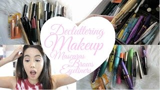 DECLUTTER MY MAKEUP COLLECTION + GIVEAWAY 2017! EPISODE #4 EYELINERS, MASCARAS, EYEBROWS