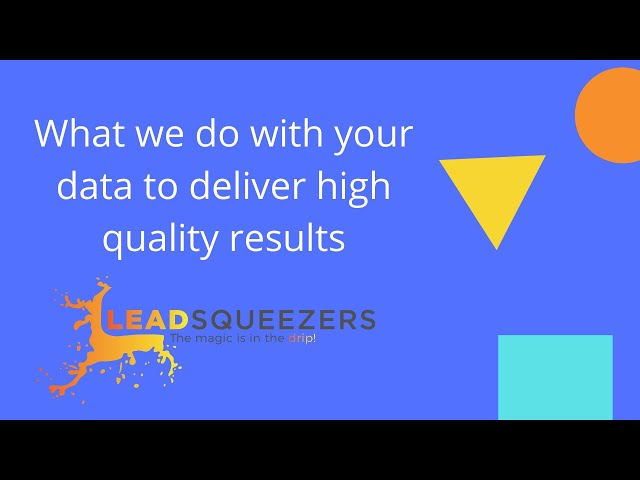 Lead Squeezers - What we do with your data to deliver high quality results