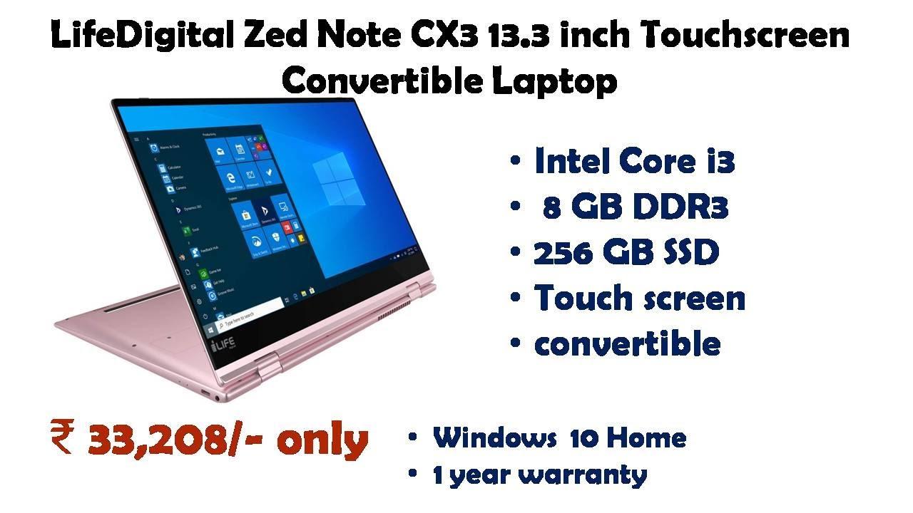 Lifedigital Zed Note Cx3 13 3 Inch Touchscreen Convertible Laptop Reviews Youtube