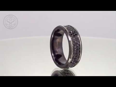 Custom Black Diamond Men's Wedding Band
