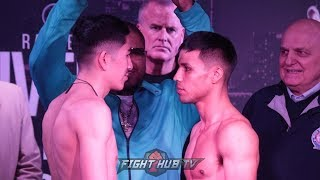 LEO SANTA CRUZ AND RAFAEL RIVERA GO FACE TO FACE AT WEIGH INS BEFORE THEIR CHAMPIONSHIP FIGHT ON FOX
