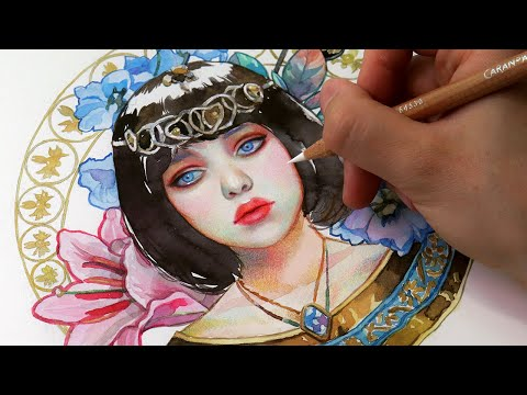 Painting Modern ART NOUVEAU! // Watercolor & Color Pencils Tutorial