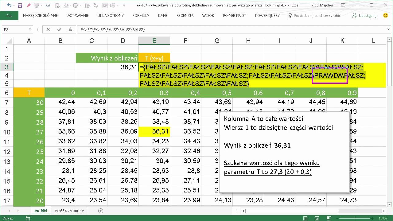 Excel 664 Wyszukiwanie Odwrotne Dokładne I Sumowanie Z Pierwszego Wiersza I Kolumny
