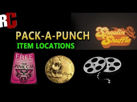 Shaolin Shuffle Zombies - Pack-A-Punch item locations (Pink flyer, Coin, Film Reel Locations)