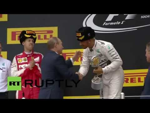 Russia: Putin Awards Russian Grand Prix Trophy To Lewis Hamilton