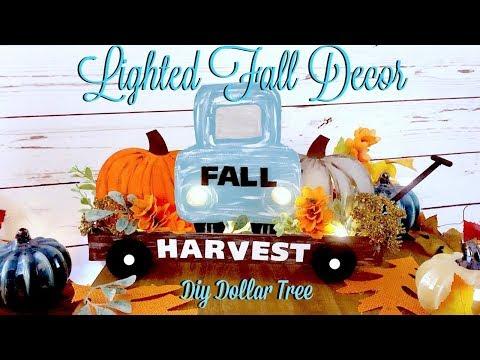 DIY DOLLAR TREE LIGHTED FALL DECOR // DIY FALL TRUCK // PUMPKIN CART