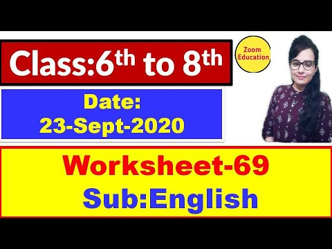 Doe Worksheet 69 || Class 6th 7th 8th || Hindi & English Medium : 23 Sept 2020
