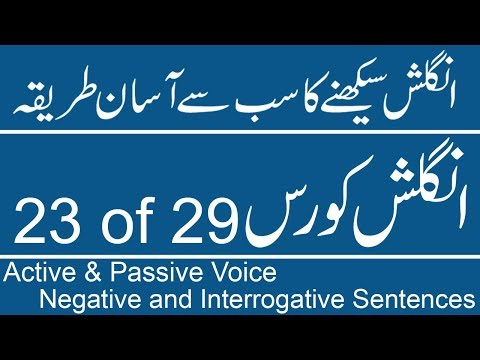 Active Voice & Passive Voice (Negative and Interrogative