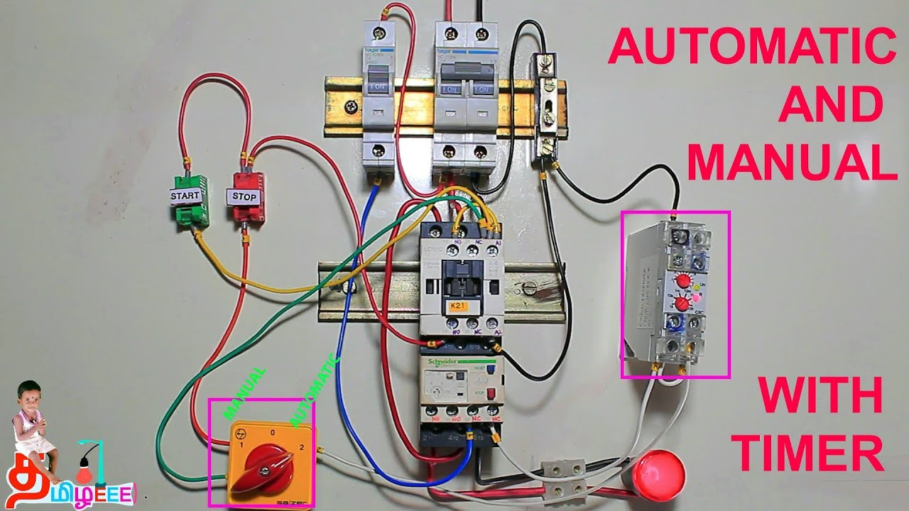 medium resolution of dol starter automatic and manual with timer control in tamil and motor starter wiring dol starter