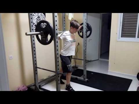 Benny squatting 155lbs at home with the new plates and the Sabo Powerlift shoes