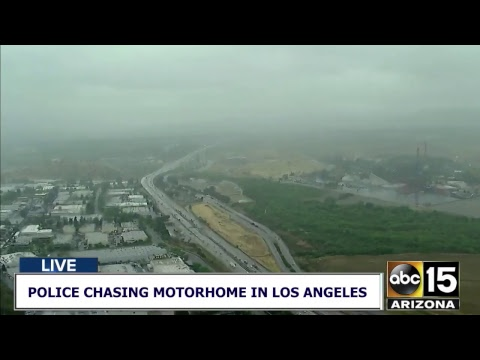 NOW: Motorhome police chase with reportedly armed domestic violence suspect in Los Angeles