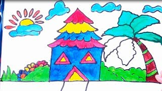 Drawing , Coloring And Painting House Coloring Pages |How To Draw Farm Garden Flowers Coloring Pages