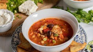 Greek Style Chicken Tortilla Soup with Pita