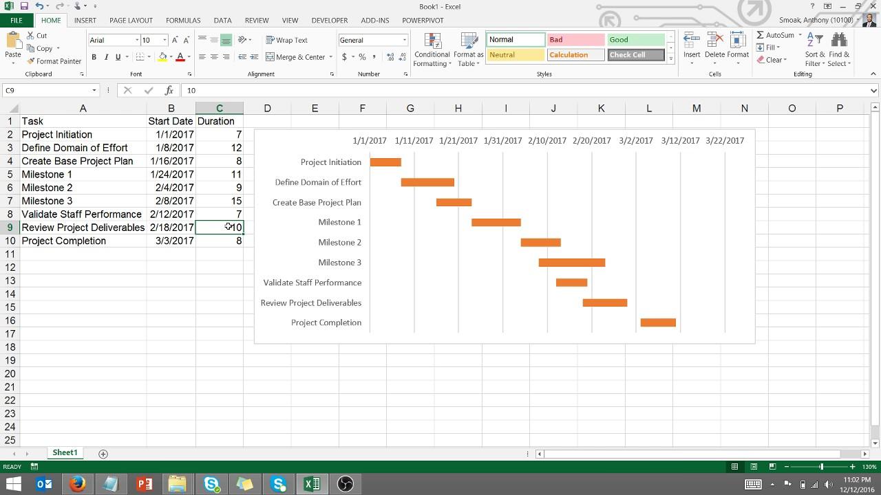 Create A Gantt Chart In Excel Youtube