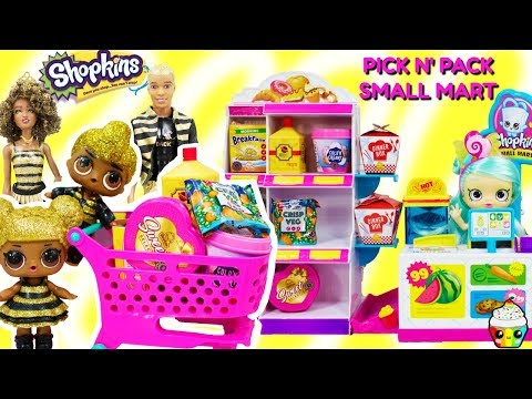 Shopkins Pick N' Pack SMALL MART Grocery Shopping Queen Bee Family + Shoppies