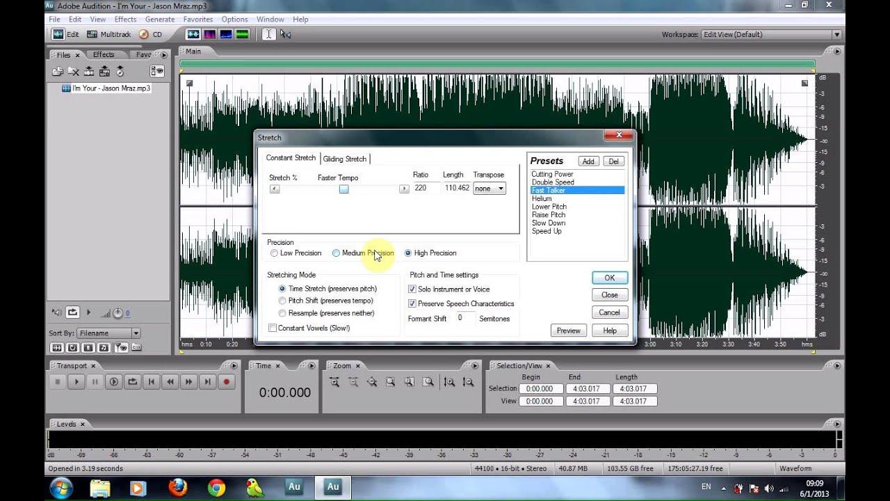 Hướng Dẫn Chỉnh Giọng Chipmunk Bằng Phần Mềm Adobe Audition 3.0