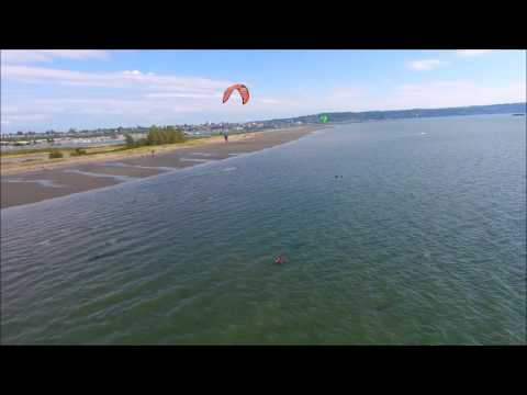 Could it get any better? Dji Phantom 4, kite surfing and Jetty Island.
