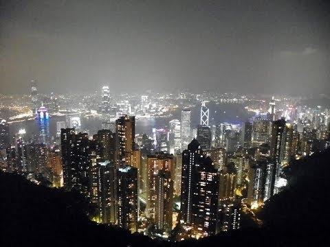 HD Amazing View Hong Kong Skyline From Victoria Peak Night Beautiful 太平山香港