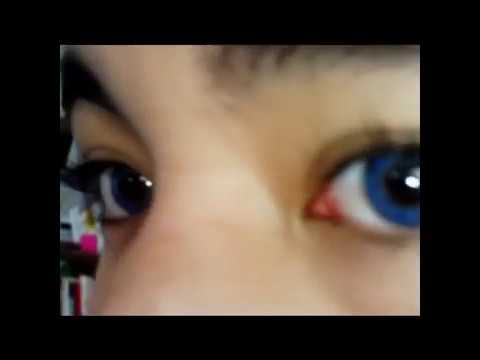 Freshlook Colorblends True Sapphire on dark brown eyes ... True Sapphire Contact Lenses