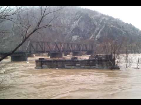 The flooded Potomac / Shenandoah confluence (at Harper's Ferry)