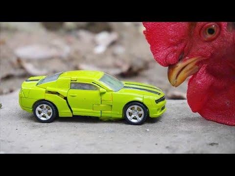 Transformers Stop Motion Soundwave, Bumblebee Superhero Autobot Truck Robot Racing car in real life!