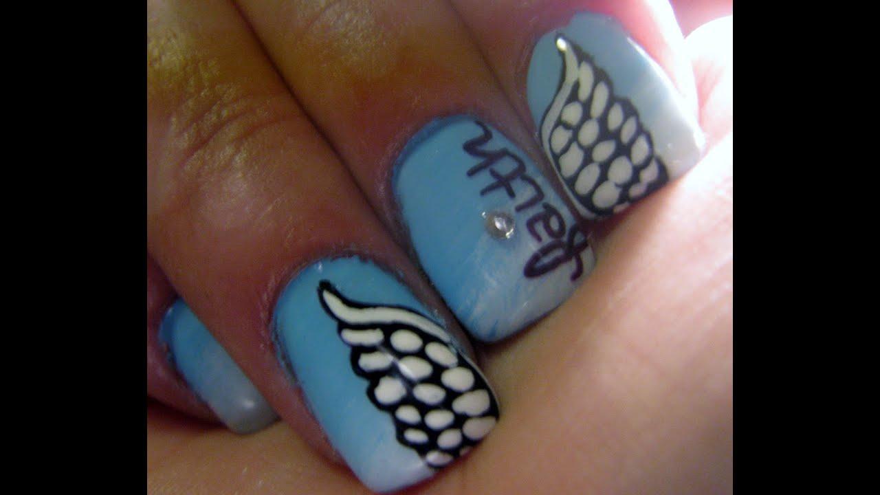 Angel wings nail tutorial - YouTube