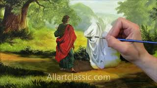 Religious Painting-Way to Emmaus by Robert Zund