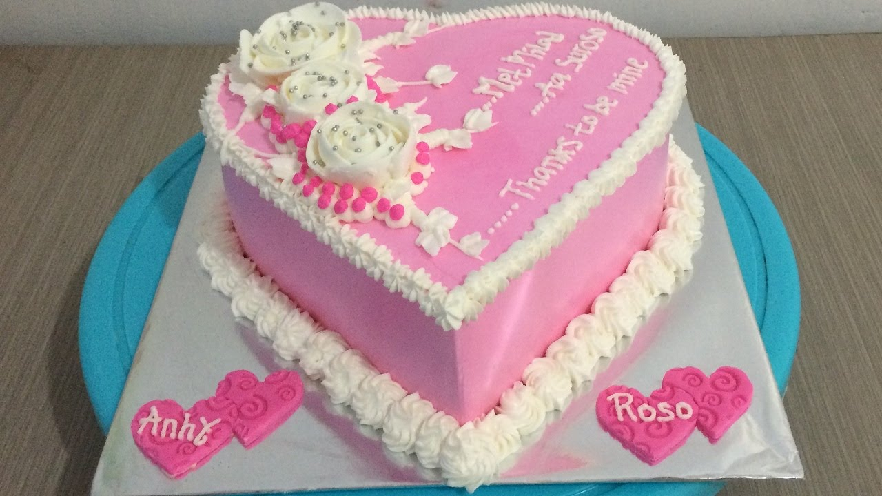 I Love Cake Design Puntata 3 : Simple Love Cake Pink Decorating - YouTube
