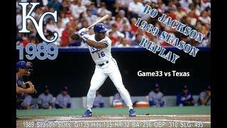 Bo Knows Baseball --Season Replay of 1989 Kansas City Royals Game33 vs Texas--Live Stream