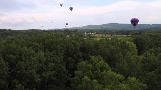 Skimming the tree tops in a hot air ballon