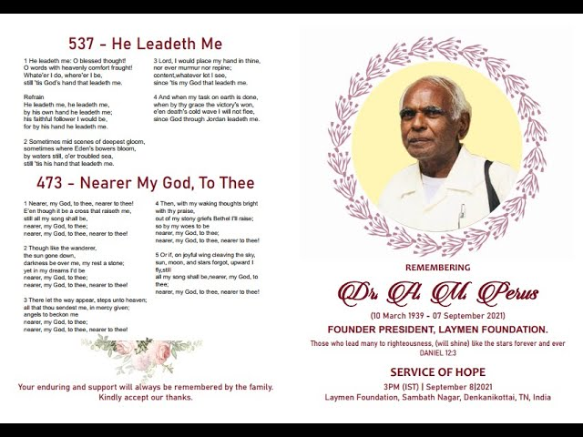 Celebrating the Life of  Dr. A.Malkiah Perus    08.09.2021   3 Angels Medical Ministry