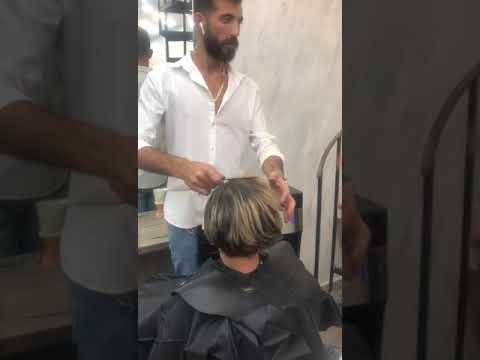 short bob pixie haircut with nape shave and clipper cleaning