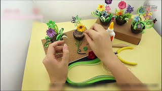 Quilling Paper Flower Pot Plant Paper Art Craft Tool Set