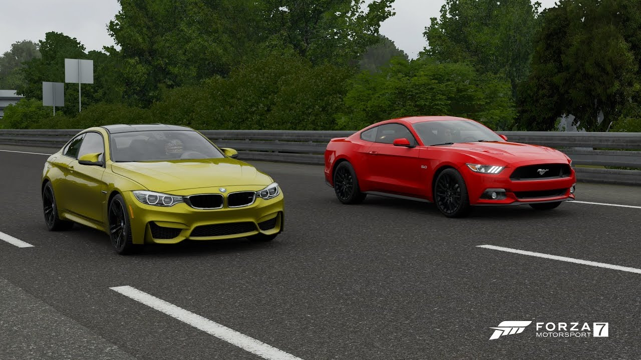 Forza 7 drag race bmw m4 vs ford mustang gt 2015