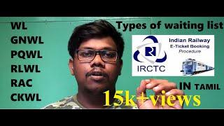 What is WL GNWL PQWL GLWL CKWL RAC CNF RQWL RLWL In IRCTC Indian Railway E Ticketbooking tamil 2019