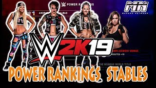 WWE 2K19 Universe Mode Power Rankings,  Stables, Commentary Options Concept