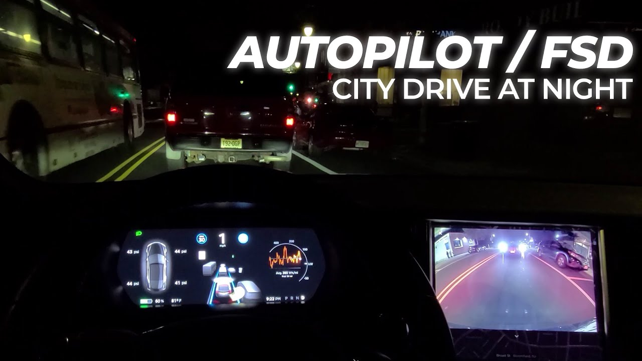 Tesla Autopilot (FSD) City Night Testing