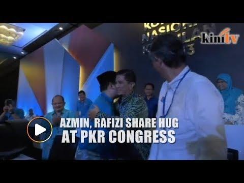 Azmin, Rafizi share a hug at PKR congress