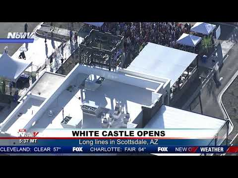 WHITE CASTLE MANIA: Opening day long lines at fast-food restaurant in Scottsdale, AZ