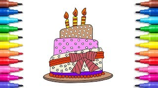 Drawing a Birthday Cake - Coloring Pages For Children - Learn Drawing