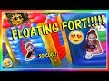 Ref:iQo0ewCYnjw Playing in our backyard floaty fort! | we are the davises