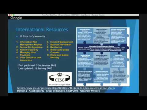 Asset Security / Standards Selection - Grupo de Estudo CISSP, 2016